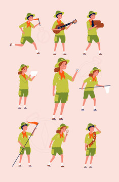 Young scouts. Kids boys and girls adventure camping specific uniforms vector flat characters. Illustration scout hiking, characters adventure and travel