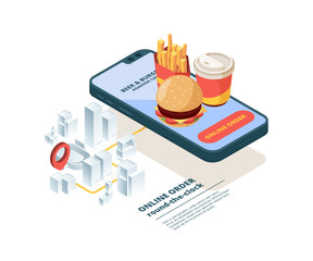 Pizza order online. Smartphone screen fast food pictures mobile app internet shopping order junk food fast delivery vector isometric. Order delivery service food, online transportation illustration