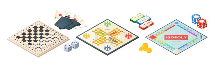 Board games isometric. Various tools for board games. Dices, pawns cards coins money. Vector board games elements. Illustration board game strategy, leisure and challenge
