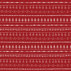 Hand drawn white doodle christmas line borders seamless pattern. Decorative sketched background red and white