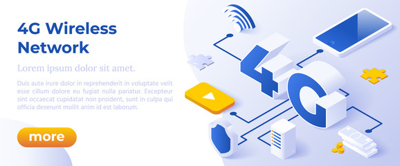4G Network Wireless Technology Vector Illustration. Isometric Big Letters 4g And Digital Devices. High-Speed Mobile Internet. Using Modern Digital Devices. Web Page Template.