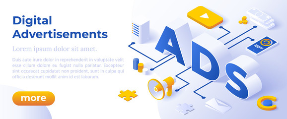 Ads - Digital Advertising Social Media Online Marketing. Isometric Big Letters ADS And Digital Devices. Vector Illustration Concept. Web Page Template.