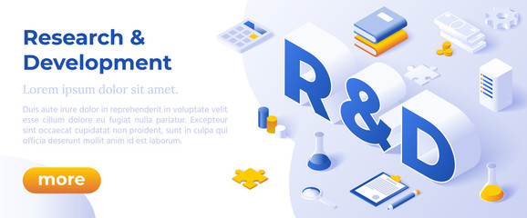 Research and Development. Business Solution Concept. Isometric Big Letters R and D And Digital Devices. Client Support Landing Page.