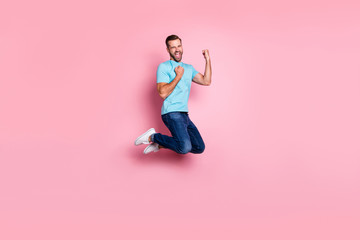 Deurstickers Hoogte schaal Full length body size profile side photo of cheerful screaming ecstatic man rejoicing in victory his team in jeans denim jumping isolated pastel color background