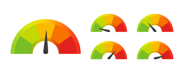 set color speedometer in flat style, vector