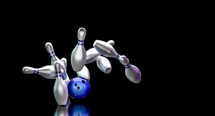 Wall Mural - Bowling ball hits the pins by doing a strike.
