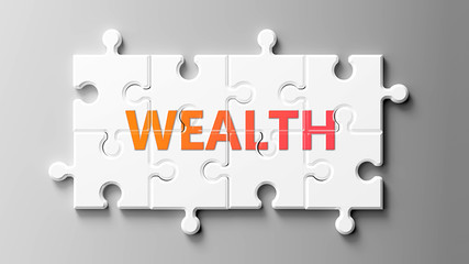Wealth complex like a puzzle - pictured as word Wealth on a puzzle pieces to show that Wealth can be difficult and needs cooperating pieces that fit together, 3d illustration