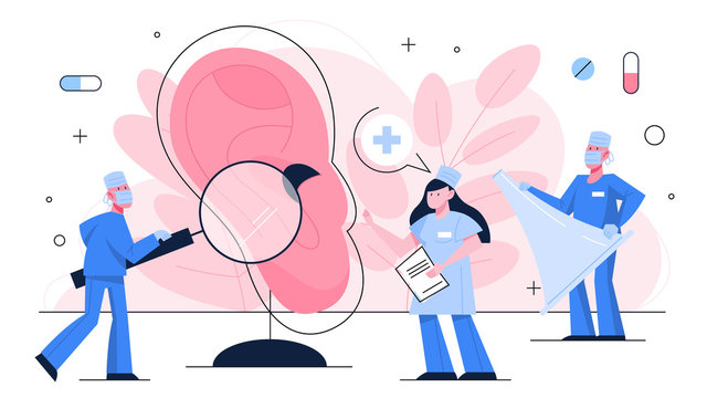 Doctor make ear examination concept. Idea of medical treatment
