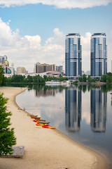 Hydropark in Kiev. Empty beach in summer