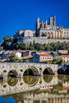 The Old Bridge (Pont Vieux) and the St. Nazaire Cathedral at Beziers, Herault Department, France in autumn