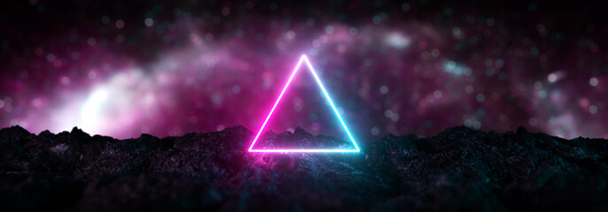 Futuristic retro neon triangular light glowing on rocky ground, large banner, 3d render, bokeh background, Pink blue color.