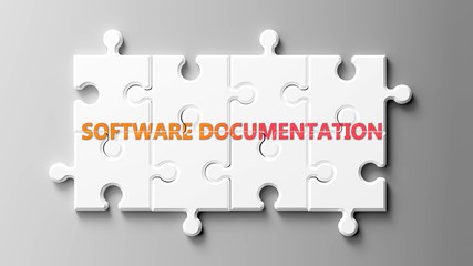 Software documentation complex like a puzzle - pictured as word Software documentation on a puzzle to show that it can be difficult and needs cooperating pieces that fit together, 3d illustration
