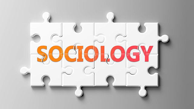 Sociology complex like a puzzle - pictured as word Sociology on a puzzle pieces to show that Sociology can be difficult and needs cooperating pieces that fit together, 3d illustration