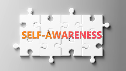 Self awareness complex like a puzzle - pictured as word Self awareness on a puzzle pieces to show that Self awareness can be difficult and needs cooperating pieces that fit together, 3d illustration