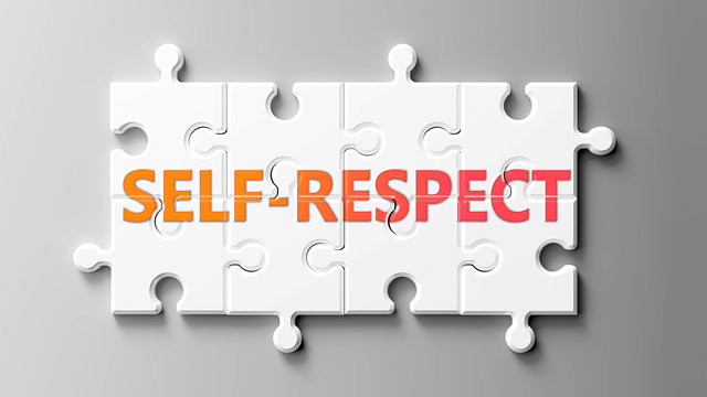 Self respect complex like a puzzle - pictured as word Self respect on a puzzle pieces to show that Self respect can be difficult and needs cooperating pieces that fit together, 3d illustration