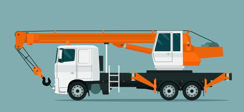 Truck crane isolated. Vector flat style illustration.