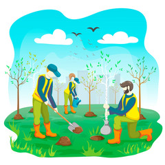 Volunteer team of young people planting trees and watering sprout, seedling in city park or garden. Volunteering gardening work. Ecological lifestyle. flat illustration. Arbor day concept.