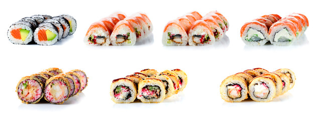 Foto op Plexiglas Sushi bar Sushi Rolls Set, maki, philadelphia and california rolls, on a white background.