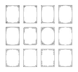 Vintage decorative frame set. Retro art deco geometric ornamental frames, vector rectangle ornate borders. Aantique wedding ornaments and frames
