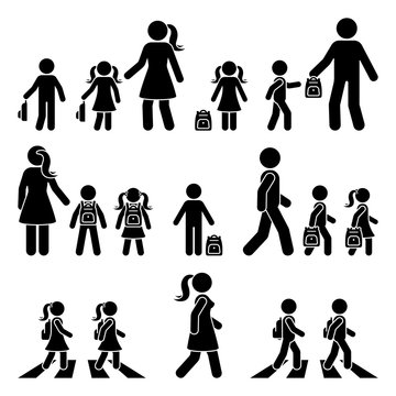 Stick figure walking kids with parents and backpack vector icon pictogram. Boy and girl on crosswalk going to school silhouette on white
