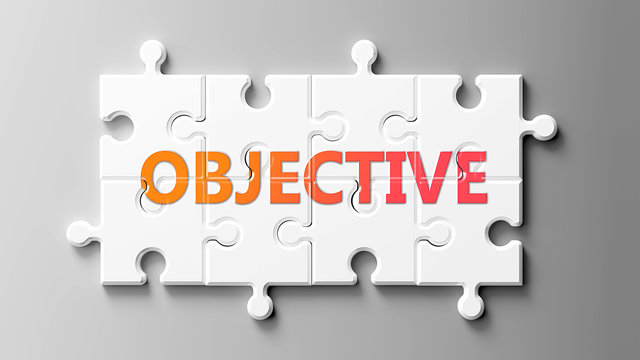 Objective complex like a puzzle - pictured as word Objective on a puzzle pieces to show that Objective can be difficult and needs cooperating pieces that fit together, 3d illustration