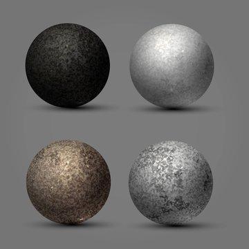 Textured stone balls, planets, round stones