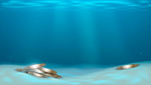 Gold coins in the sea under water, sunken treasure