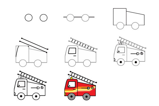 Drawing tutorial. How to draw a car. Fire truck to be traced. Step by step. Educational game for kids.