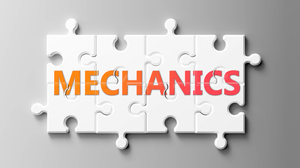Mechanics complex like a puzzle - pictured as word Mechanics on a puzzle pieces to show that Mechanics can be difficult and needs cooperating pieces that fit together, 3d illustration