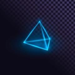 Glowing blue neon pyramid, futuristic prism, laser pyramid on transparent background