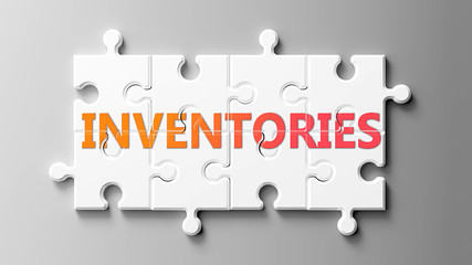 Inventories complex like a puzzle - pictured as word Inventories on a puzzle pieces to show that Inventories can be difficult and needs cooperating pieces that fit together, 3d illustration