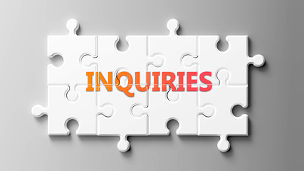 Inquiries complex like a puzzle - pictured as word Inquiries on a puzzle pieces to show that Inquiries can be difficult and needs cooperating pieces that fit together, 3d illustration