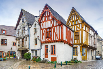 Fototapete - Street in Noyers, Yonne, France