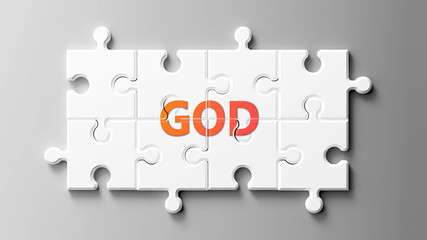God complex like a puzzle - pictured as word God on a puzzle pieces to show that God can be difficult and needs cooperating pieces that fit together, 3d illustration