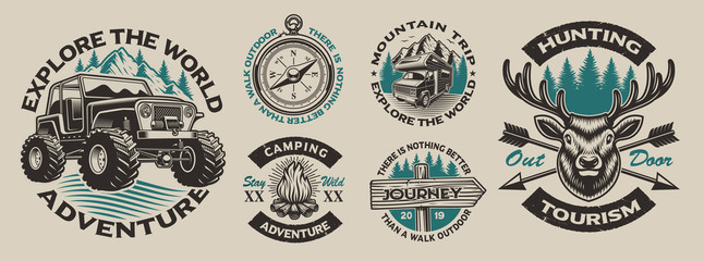 Set of vector vintage logos for the camping theme. Perfect for posters, apparel, T-shirt design and many other. Layered
