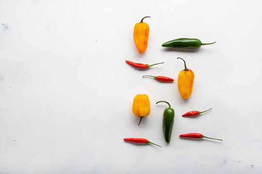 Mix of hot and spice peppers top view
