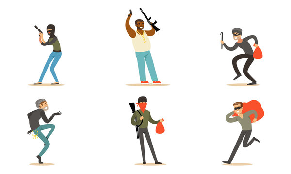 Masked Criminal Characters, Bandits And Gangsters With Guns Vector Illustration Set Isolated On White Background
