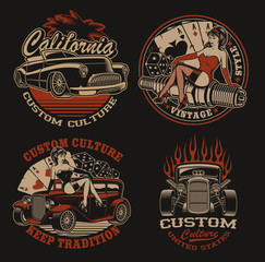 Set of coloured  logos for shirt designs in vintage style