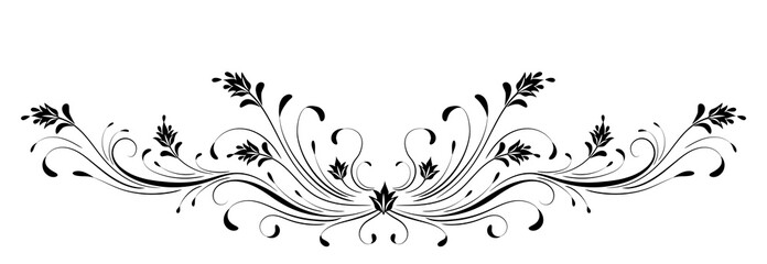Wall Mural - Vintage floral ornament for greeting card isolated on white background
