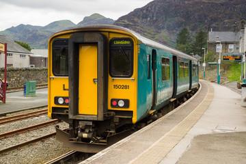 Passenger diesel train in the station at Blaenau Ffestiniog in Wales