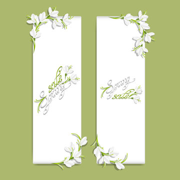Set of two vertical banners with snowdrop flowers. Spring frame. Template with spring sale inscription and blooming flowers. Floral set. Swirl handwritten text. Vector, EPS 10