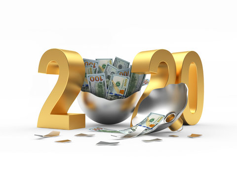 Golden 2020 New Year and broken Christmas ball with dollar bills inside on white background. 3D illustration