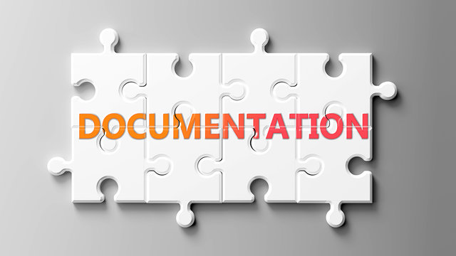 Documentation complex like a puzzle - pictured as word Documentation on a puzzle pieces to show that Documentation can be difficult and needs cooperating pieces that fit together, 3d illustration