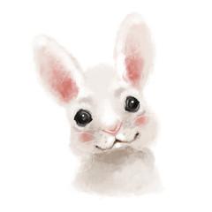 Cute hand drawn bunny, rabbit, woodland watercolor animal portrait