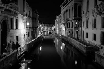 Aluminium Prints Venice canal in venice at night