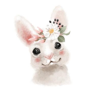 Cute hand drawn bear in floral wreath, flowers bouquet, woodland watercolor animal portrait