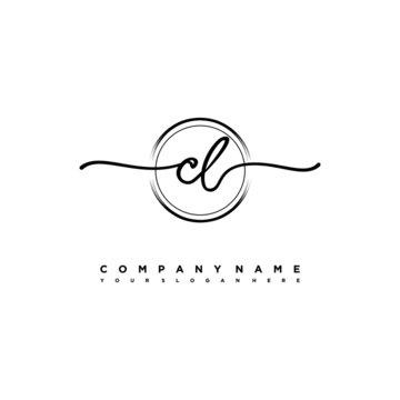 CL Initial handwriting logo design with brush circle lines black color. handwritten logo for fashion, team, wedding, luxury logo.