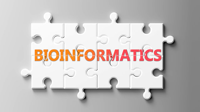 Bioinformatics complex like a puzzle - pictured as word Bioinformatics on a puzzle pieces to show that Bioinformatics can be difficult and needs cooperating pieces that fit together, 3d illustration