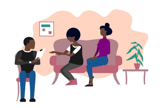 Married black couple of two women having therapeutical meeting at psychologist office. Flat style stock vector illustration.