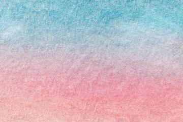 Abstract art background light blue and pink colors. Watercolor painting on canvas.